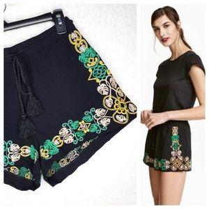 H&M Black Embroidered Drawstring Waist Shorts
